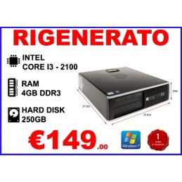 PC HP 8200 SFF I3-2100 4GB 250GB DVD WIN7PRO RIGENERATO